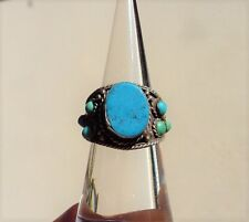 CHARMING VINTAGE ETHNIC TRIBAL SILVER & TURQUOISE RING