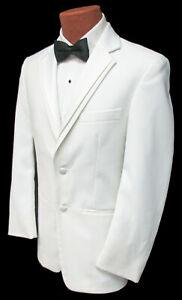 Mens Perry Ellis Virgo White Tuxedo Jacket Dinner Wedding Mason Prom Cruise 40XL
