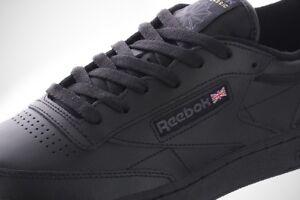 Reebok Classic Club C 85 Black Charcoal Mens Casual Shoes AR0454 Sizes 7.5-13