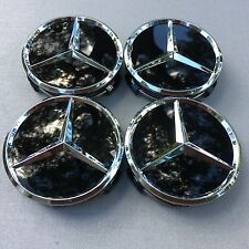 MERCEDES-BENZ (SET OF 4) 75mm GLOSS BLACK WHEEL CENTER CAPS WC-519 MB1