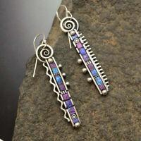 Boho Women 925 Silver Rainbow Ear Hook Dangle Drop Earrings Fashion Jewelry Gift