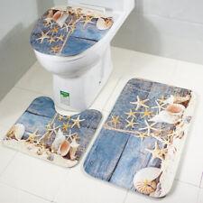 3er Bad Set Badezimmer Badteppich Badvorleger Deckelbezug WC Duschmatte Teppich