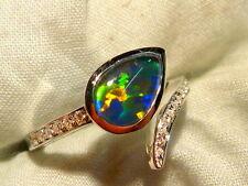 Opal Ring Ladies Sterling Silver 925 & CZ, 9x6mm Teardrop Triplet. item 100917.