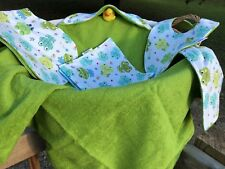 Baby Hooded Towel Frogs Stars Green Boys Prince Terry Cotton Gift Set Handmade