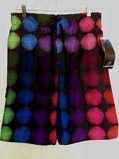 Laguna Swim Trunks Shorts Mens M Black Multicolored Tie Waist Mesh Lining