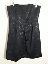 Cocktail Formal Shest Strapless Tube Mini Dress 14 Black Silver Limited Editions