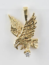Custom** Man's 10k Yellow Gold Soaring Eagle Pendant w/ Diamond **FREE SHIPPING*