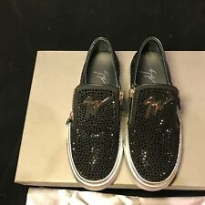 NIB Giuseppe Zanotti Women's Low Top LONDON Sneakers Crystal Panel Black US 6