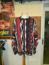 Vintage 1990s Delf Sweater Coogi Style Red & Black Sweater Jumper - XXL