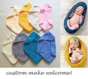NEW Handmade Crochet Newborn Knit Baby Egg Stork Pouch Cocoon Photo Prop 0-1m