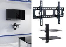 """Tilt TV Wall Mount with Shelf Double DVD Shelves for 60"""" 65"""" 70"""" 75"""" 80"""" 85"""" TV"""