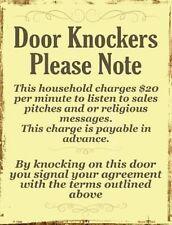 DOOR KNOCKERS PLEASE NOTE FUNNY KEEP AWAY NOVELTY METAL DECORATIVE PARKING SIGN