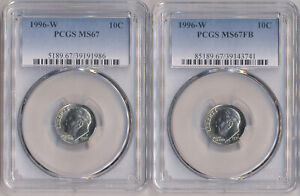 2 Coin Grading Set - 1996-W Roosevelt Dime  PCGS MS-67 MS-67 FULL BANDS