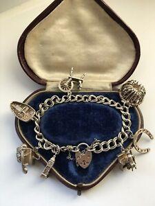 Sterling Silver Heavy Charm Bracelet 40.8gr