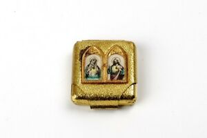Vintage Pocket Shrine,Metal Box,Saint Rita,Heart of Jesus,Metal.Czechoslovakia