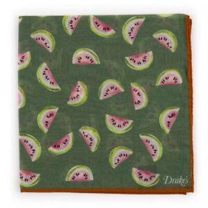 Drake's London Green Watermelon Pocket Square Silk Cotton NEW