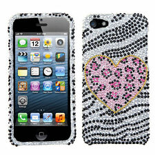 iPhone SE 5S DIAMOND BLING HARD PROTECTOR CASE BLACK ZEBRA PINK LEOPARD HEART