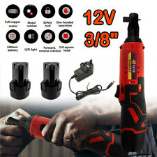 3/8'' 12V 90° Cordless Electric Ratchet Wrench Right Angle Tool Kit +2 Battery
