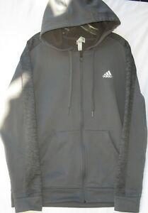 Adidas men's long sleeve polyester climawarm athletic hoodie jacket size medium