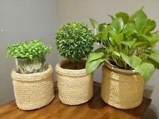 3pcs Jute Planter Baskets Jute Storage Baskets Storage Plant Holders Rope Basket