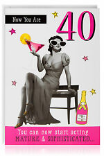40th Female Birthday Funny Humour Joke Card Greetings Retro Vintage Cocktail