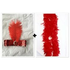 1920s Charleston Flapper Fancy Set Red Sequin Headband And Feather Boa