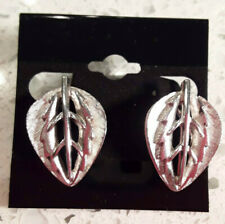 New Chicos Silver tone Leaf Earrings Clips Nice Combo of Matte/Shiny Classic