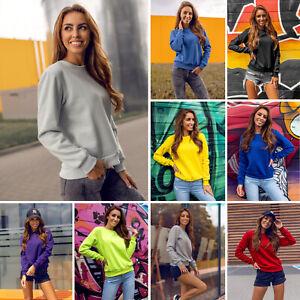 Sweatshirt Langarmshirt Pullover Pulli Unifarben Classic Sport Damen BOLF Basic