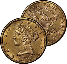 1887 S $5 HALF EAGLE LIBERTY HEAD GOLD COIN BU