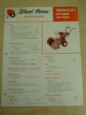 VINTAGE 1968 WHEEL HORSE TRAILBLAZER 7 SNOW THROWER SPEC SHEET SALES BROCHURE
