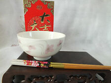 JAPANESE PINK BLOSSOM WHITE RICE SOUP NOODLE BOWL BLACK CHOPSTICKS CHINESE PARTY