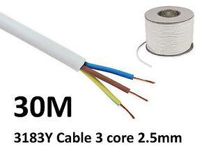30M White PVC Flexible Cable Flex 3 core 2.5mm 25 Amp 3183Y