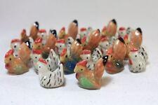 10 Pcs Figurines Dollhouse Miniature Ceramic Rooster Hen Fairy Garden Terrarium