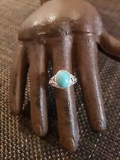 Vintage Sterling Silver Blue Stone Filigree Ring Jc Signed Maybe Turquoise Sz6