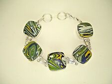 AB One-of-a-Kind Green Blue Yellow Calsilica Bracelet Wrist Chain Silver 8.5-9+""