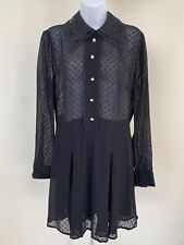NWT ZARA BLACK JEWEL BUTTON DOTTED MESH JUMPSUIT LONG SLEEVE Size S #2827