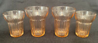 Set of 4 Vintage Depression Glass Pink Queen Mary, 2 Water & 2 Juice Tumblers
