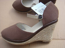 New Brown canvas wedge heel sandals, UK Size 5.5,EU 39