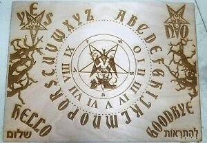 Wooden Ouija Board & Planchette With Baphomet & Pentagram Engraved on Wood