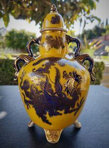 Edwardian Cobalt Blue & Gold Leaf Dragon Urn  (Mason's Ironstone)