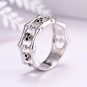 Fashion 925 Silver Skull Punk Party Jewelry Women  Anniversary Gift Band Ring