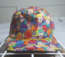 Vintage Colorful Faces Cartoon Art Print  Snapback Hat Cap Made in USA