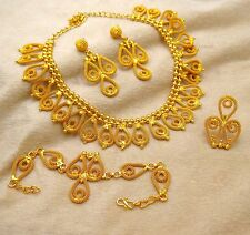 Bollywood Ethnic 4 Pcs Gold Plated Necklace Set Indian Traditional Women Jewelry