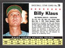 1961 POST CEREAL #79  Billy Klaus  BALTIMORE ORIOLES ( Box Version )  EX-MINT  E
