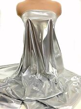 """LIQUID LAME FABRIC SILVER/WHITE 45"""" BY THE YARD COSTUME, FORMAL, CRAFTS, DECOR"""