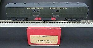 S. Soho 62' Illinois Central Harriman Baggage Painted Passenger Car HO Brass