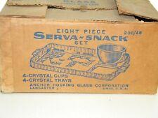 Vintage, Anchor Hocking, 8 Piece, Serva-Snack Set