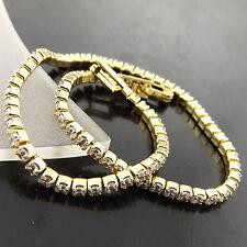BRACELET BANGLE GENUINE 18K YELLOW G/F GOLD DIAMOND SIMULATED TENNIS DESIGN