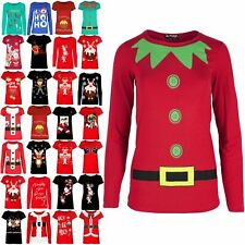 Ladies Costume Top Womens Elf Santa Helper Slim Long Sleeve Jersey Dress T Shirt