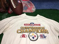 REEBOK Pittsburgh Steelers 2005 AFC Conference champions Shirt large c11